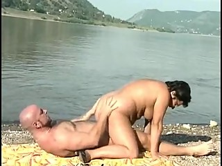 German couple sex by the lake